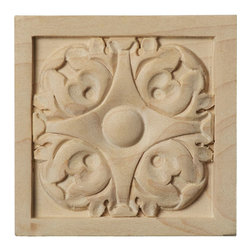 """Ekena Millwork - 3""""W x 3""""H x 5/8""""D Small Leaf Rosette, Cherry - Our rosettes are the perfect accent pieces to cabinetry, furniture, fireplace mantels, ceilings, and more.  Each pattern is carefully crafted after traditional and historical designs.  Each piece is carefully carved and then sanded ready for your paint or stain.  They can install simply with traditional wood glues and finishing nails."""