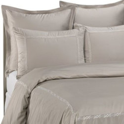 Raymond Waites - Raymond Waites  Soft Scroll Standard Pillow Sham in Grey - Cloak your bed in silky sateen with this Soft Scroll standard pillow sham.