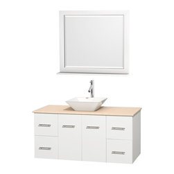 """Wyndham Collection - Centra Bathroom Vanity in White,Marble Top,Pyra White Sink,36"""" Mir - Simplicity and elegance combine in the perfect lines of the Centra vanity by the Wyndham Collection. If cutting-edge contemporary design is your style then the Centra vanity is for you - modern, chic and built to last a lifetime. Available with green glass, pure white man-made stone, ivory marble or white carrera marble counters, with stunning vessel or undermount sink(s) and matching mirror(s). Featuring soft close door hinges, drawer glides, and meticulously finished with brushed chrome hardware. The attention to detail on this beautiful vanity is second to none."""