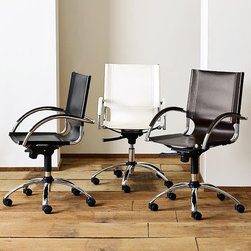 Swivel Leather Desk Chair - Italian leather turns our swivel chair into a sleek and supportive workmate. The upwardly mobile design features an adjustable seat and smooth casters.
