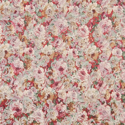 Red, White And Green, Floral Garden Jacquard Woven Upholstery Fabric By The Yard - Botanical upholstery fabrics with the look of this one, add a unique appearance to any furniture. This material's colors look pastel, and blend perfectly together.
