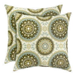 None - 17-inch Outdoor Spray Square Accent Pillow (Set of 2) - Add a touch of contemporary style and comfort to your outdoor furnishings with these accent pillows. These pillows are overstuffed with a soft 100-percent polyester fill and have a durable weather resistant and UV protected cover.