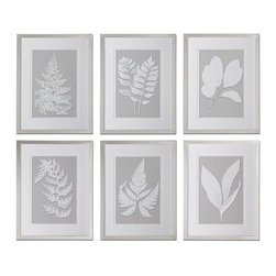 Uttermost - Uttermost 41394 Moonlight Ferns Framed Art, Set of 6 - Uttermost 41394 Moonlight Ferns Framed Art, Set of 6Prints are accented by double V-grooved, white mats and surrounded by frames with a silver leaf base and champagne wash.Uttermost 41394 Features: