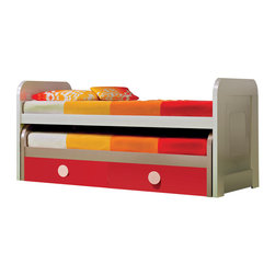 "Hispania Home - MD Trundle Kid Beds Cream-Red Matte, 2 Beds W/ Drawers - Kids trundle bed. Cream-red lacquered (39"" W X 39"" H X 84"" LARGE) European size."