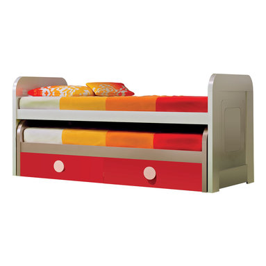 """Hispania Home - MD Trundle Kids' Beds, Cream/Red, 2 Beds With Drawers - Kids trundle bed. Cream-red lacquered (39"""" W X 39"""" H X 84"""" LARGE) European size."""