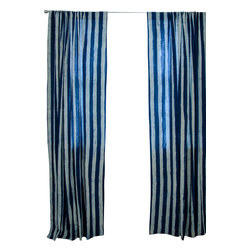 """Ichcha - Beach House Window Curtain, 96"""" - Mix and Match Pair of Stripes and Toiles, a unique interpretation of History done in its original form, hand block printing. The Panels are hand block printed and colored with natural dyes! The pair is fresh and transforms your house into a 'Beach House'."""