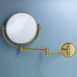 Swinging Vanity Mirror - Featuring a round two-sided mirror that is attached to an extendable, swinging arm, this vanity mirror is the perfect addition to your cosmetic or vanity area.