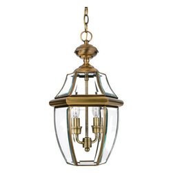 Quoizel Lighting - Quoizel NY1178A Newbury 2 Light Outdoor Pendant/Chandelier, Antique Brass - Long Description: When it comes to curb appeal, outdoor lighting plays a large part in creating a special ambiance. The classic design and beveled glass of the Newbury gives the outside of your home a rich elegance, without making it look over-embellished. It's a versatile look that coordinates with most any architectural style.