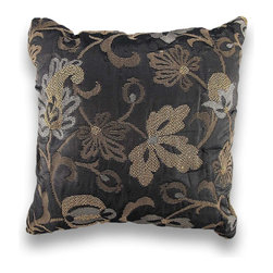 Manual - Gold Leaf Silver Metallic Damask Print Throw Pillow 17 Inch - This damask print pillow adds an elegant accent to chairs, sofas, and beds in your home. It features a gunmetal gray background highlighted with silver and gold woven accents for a shimmering, yet sophisticated, addition to your home. It measures 17 inches by 17 inches, and is made of a polyester/cotton blend. The soft stuffing is 100% polyester, and care instructions are to spot clean, only. Made in the U.S.A.