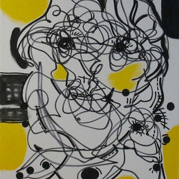 """Art yellow original painting abstract face black"" Artwork - Title: Yellow Face Artist: Regia Marinho  Size: 18 X 24 inches / 45.7 X 61 cm  Canvas: 3/4 deep canvas - Unframed Media: acrylics  Year: 2011 Misc.: hardware hanging included"