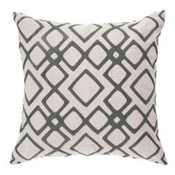 "Surya - Surya 18 x 18 Decorative Pillow, Pewter and Feather Gray (COM017-1818P) - Surya COM017-1818P 18"" x 18"" Decorative Pillow, Pewter and Feather Gray"
