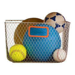 Design Ideas - Net Mesh Storage Basket, Orange Handle, Small - Meet the Net. Cool wire storage baskets, accented with orange silicone handles. Store towels, cleaning supplies, hangers, balls, water bottles or odds and ends in the garage.