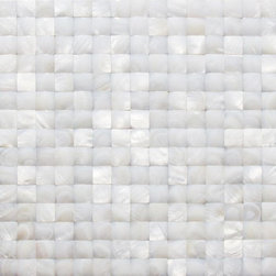 "GlassTileStore - Nacre White 3D Pearl Tile - Nacre White 3D Pattern Glass Tile             This captivating mother of pearl tile in white is artifully arranged in a 3D Square pattern. The pearl shell will add a durability and lasting exquisitness to your kitchen, or fireplace installation. These tiles are mesh mounted and will bring a sleek and contemporary clean design to any room. This tile in particular does not require grout.          Chip Size: 20mm x 20mm   Color: White   Material: Pearl Shell Glass   Finish: Polished    Sold by the Sheet - each sheet measures 12"" x 12"" (1 sq. ft.)   Thickness: 2 mm   Please note each lot will vary from the next.   This tile is not recommended to be installed in a shower, shower floor or pools.            - Glass Tile -"