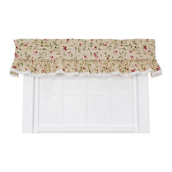 Ellis Curtain - Cherries Natural 52 x 12-Inch Ruffled Valance - - Ellis Curtain Kitchen Collection Cherries Ruffled Valance - We?ve designed our Kitchen Collection Line with three things in mind? To have beautiful printed patterns, be machine washable and inexpensive. The Cherries Collection is an elegant pattern of cherries, vines, leaves and floral blossoms on a solid background that will reflect the atmosphere, mood and theme that you are looking to create in your kitchen. Made from 70-percent polyester and 30-percent cotton creates a sturdy valance that is extremely durable and will hold its color and shape even after repeated washings. The ruffled valance is constructed with a standard 1.5-Inch rod pocket, 2.5-Inch header and ruffled border with lace trim accent. Length is measured overall 12-Inch from header top (ruffle above the rod pocket) to bottom of panel. Width is measured overall 52-Inch. For wider windows simply add multiple ruffled valances together. Also available are ruffled tailored tier curtains, valances and 3-piece lined swag curtains   - A drapery rod, which is not included, is required to complete installation Ellis Curtain - 730462536013