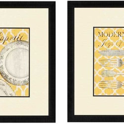 "Paragon Decor - Bon Appetite, Set of 2 Artwork - Decorate those boring kitchen walls with this adorable duo. ""Bon Appetite"" features two corresponding illustrations that resemble classic cookbook covers. The first features details of three porcelain plates beneath the title, ""Bon Appetit - Delicious"" atop a pale yellow and white quatrefoil pattern background, and the second features an array of silverware beneath the title ""Modern Cooking - Joys Of Food"" atop a slightly different pattern in the same color scheme. Both pieces are surrounded by thick off-white mattes and thin simple black frames. Each piece in this set measures 21 inches wide, 1 inch deep, and 21 inches high."