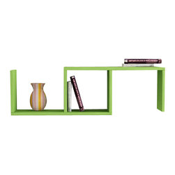 Matte - Dibi Bookshelf by Matte, Green - Simple and stylish, the Matte Dibi Wall Shelf, is a contemporary and angular design that is perfect for displaying your favorite books and objects. Featuring one compartment and two shelves, it is perfect for storing and displaying books, artwork and much more.