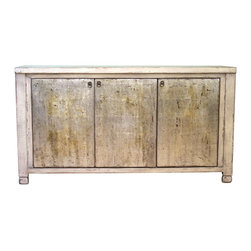 Madera Home - Marguerite Cream and Silver 3 Door Tall Sideboard - Our collection of sideboards and buffets are built of beautiful elm wood reclaimed from buildings and furniture pieces that graced the eclectic Qing dynasty. Each piece is meticulously hand built and finished by time-honored craftsman utilizing over 120 different processes. A gorgeous addition to your dining room, stunning under your flat panel television, or the focal point of the master suite.