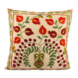 Handmade Suzani Pillow Cover -  usp108 - Suzani pillow cover from Uzbekistan. Hand embroidered with naturally dyed. Anatolian and central Asian patterns. Great for Boho-Chic, Bohemian decorating style, and can also be mixed with contemporary, modern or traditional decor. Check out our Facebook and Pinterest pages for examples of suzanis placed in rooms featured in Elle Decor, Vogue, and other magazines.