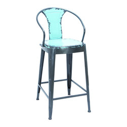 Benzara - Old Look Baby Blue Color Bar Chair With Comfort Arm Rests - Take a load off in style with a unique antique that's as comfortable as it is eye-catching. The comfort arm rests on either side protrude around the seat from the backrest allowing you to fully relax while enjoying your surroundings. And with the aged baby blue paint, this bar chair fits in just about anywhere it's needed.