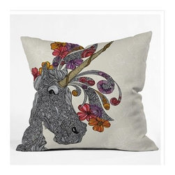"DENY Designs - Valentina Ramos Unicornucopia Throw Pillow - Wanna transform a serious room into a fun, inviting space? Looking to complete a room full of solids with a unique print? Need to add a pop of color to your dull, lackluster space? Accomplish all of the above with one simple, yet powerful home accessory we like to call the DENY Throw Pillow! Features: -Valentina Ramos collection. -Color: Print. -Material: Woven polyester. -Sealed closure. -Spot treatment with mild detergent. -Made in the USA. -Closure: Concealed zipper with bun insert. -Small dimensions: 16"" H x 16"" W x 4"" D. -Medium dimensions: 18"" H x 18"" W x 5"" D. -Large dimensions: 20"" H x 20"" W x 6"" D. -Product weight: 3 lbs."