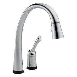 Delta 980T-DST Pilar Single Handle Pull-Down Kitchen Faucet with Touch2O and Dia - Delta 980T-DST Pilar Single Handle Pull-Down Kitchen Faucet with Touch2O® and Diamond Seal Technology in Chrome