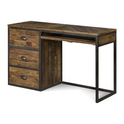 Magnussen - Braxton 3 Drawer Desk - Distressed Natural Multicolor - MHF2241 - Shop for Desks from Hayneedle.com! From early years of simple addition to complex calculus problems the Braxton 3 Drawer Desk - Distressed Natural is the perfect homework station for every age. Constructed of solid acacia this durable desk is as hardworking as he is. The distressed natural finish and oxide finish hardware add a rustic urban appeal. Three roomy drawers provide plenty of space for storage and organization while the dovetail construction ensures years of durable beauty. The smooth top allows ample area for both homework and a computer. A pull-out keyboard or laptop tray saves room and adds another convenient feature. Assembly required.Optional Item DimensionsHutch: 50W x 9D x 40H in.Chair: 18W x 21D x 38H in.About Magnussen FurnitureFrom its beginning as a small furniture company in Ontario Canada Magnussen Furniture has evolved into a full-line furniture resource with offices in Canada the United States and the Far East. Their business is creating furniture designs of exceptional style value and beauty. They produce these designs in partnership with manufacturing partners around the world that meet exacting standards for superior quality at the best possible value.