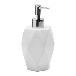 Gedy - Diamond-Shaped White Ceramic Soap Dispenser - Contemporary, decorative liquid over-the-counter soap and lotion dispenser.