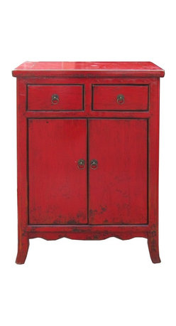 Golden Lotus - Chinese Red Rustic Lacquer Side Table Nightstand - This is simple side table / nighstand with rustic red lacquer finish. The legs have minor curve. The hardware is simple round little circle.