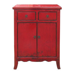 Golden Lotus - Chinese Red Rustic Lacquer Side Table - This is simple side table / nighstand with rustic red lacquer finish. The legs have minor curve. The hardware is simple round little circle.