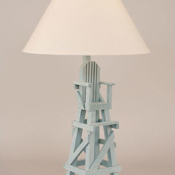 Coast Lamp Manufacturing - Weathered Atlantic Gray One-Light Lifeguard Chair Table Lamp - -Proudly made in the USA. Coast Lamp Manufacturing - 22BD