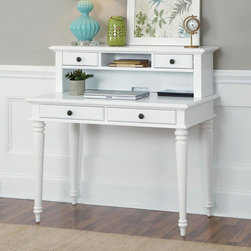 Home Styles - Home Styles Bermuda Brushed White Student Desk with Optional Hutch - 5543-16 - Shop for Childrens Desks from Hayneedle.com! The white finish and turned legs of the Home Styles Bermuda Brushed White Student Desk with Optional Hutch may be suggestive of cottage style but its true inspiration is the casual elegance of tropical-infused British colonial furniture design. Crafted from durable poplar solids and engineered wood this charming computer desk contains two spacious storage drawers with floral-themed knobs finished in antiqued brass. If extra storage is needed the optional hutch offers an easy match with two small drawers a central open shelf and a discreet cutout for computer cord access.About Home Styles?Home Styles is a manufacturer and distributor of RTA (ready to assemble) furniture perfectly suited to today's lifestyles. Blending attractive design with modern functionality their furniture collections span many styles from timeless traditional to cutting-edge contemporary. The great difference between Home Styles and many other RTA furniture manufacturers is that Home Styles pieces are crafted from solid wood and feature quality hardware that will stand up to years of use. When shopping for convenient durable items for the home look to Home Styles. You'll appreciate the value.