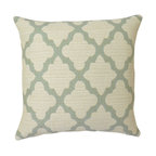 Aqua Blue Quatrefoil Geometric Pillow Cover - One pillow cover made to fit a size 18x18 insert. Designer woven upholstery weight fabric in aquamarine and cream. Beautiful texture and weight. Same fabric aligned on both sides with concealed bottom zipper. Pillow insert not included.
