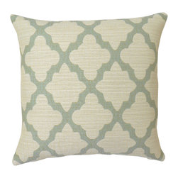 Aqua blue quatrefoil geometric decorative pillow cover - One pillow cover made to fit a size 18x18 insert. Designer woven upholstery weight fabric in aquamarine and cream. Beautiful texture and weight. Same fabric aligned on both sides with concealed bottom zipper. Pillow insert not included.
