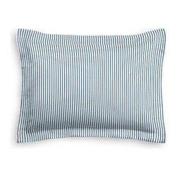 Blue Ticking Stripe Custom Sham - The Simple Sham may be basic, but it won't be boring!  Layer these luxurious reversible shams in various styles for a bed you'll want to fall right into. We love it in this classic traditional cotton ticking stripe in blue and white.