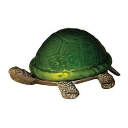 Meyda Tiffany - Meyda Tiffany Lamps Table Lamp in Tiffany Items - Shown in picture: Turtle Art Glass Accent Lamp; A Land Turtle Is Transformed Into A Charming Accent Lamp Featuring A Green Mottled Glass Shade That Rests On A Cast Metal Base.