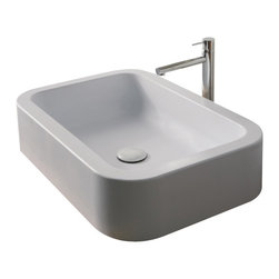 Scarabeo - Rectangular White Ceramic Vessel Bathroom Sink, No Hole - Modern design, rectangular and curved white ceramic vessel bathroom sink. Stylish supported washbasin has no hole and no overflow. Made in Italy by Scarabeo.