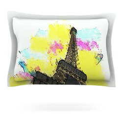 "Kess InHouse - Oriana Cordero ""Eifel - Bon Jour"" Yellow Paris Pillow Sham (Cotton, 30"" x 20"") - Pairing your already chic duvet cover with playful pillow shams is the perfect way to tie your bedroom together. There are endless possibilities to feed your artistic palette with these imaginative pillow shams. It will looks so elegant you won't want ruin the masterpiece you have created when you go to bed. Not only are these pillow shams nice to look at they are also made from a high quality cotton blend. They are so soft that they will elevate your sleep up to level that is beyond Cloud 9. We always print our goods with the highest quality printing process in order to maintain the integrity of the art that you are adeptly displaying. This means that you won't have to worry about your art fading or your sham loosing it's freshness."