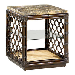 Hammary - Hammary Boracay Rectangular End Table - This distinctive end table adds smart accent storage to the living room in your home. Featuring a stone top and a middle glass shelf, as well as a patterned lattice style side design, the Boracay Stone Top End Table - 110-915 is as fashionable as it is functional. Pair the Boracay Stone Top End Table - 110-915 with the coordinating cocktail table and round, pedestal end table to complete the look in your home. Add an elegant and completely unique look to a myriad of rooms in your home with the Boracay collection. Featuring a lattice motif throughout each piece in this group, it gives off a feel of exotic and natural furniture. Sweeping curvatures and a deep brown finish outfit the pieces of this collection, as well as warm finished handle pull hardware.
