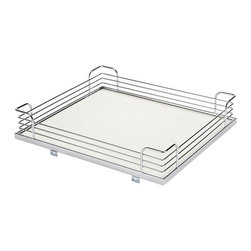 """Hafele America Co. - Magic Corner Ii - Set Of 4 Trays Chrome/White - Turn corner storage into easily accessible shelf space with the beautifully designed Magic Corner II!The innovative design features soft and silent closing and has space for up to four baskets or shelves of your choice. The Magic Corner II pulls out then swivels to the side while back baskets simultaneously move into the cabinet opening. Back baskets slide forward individually providing total access! Available in a variety of finishes so you can customize your kitchen.  Soft and Silent Feature slows the pull-out just before final closure creating automatic and silent closing Front baskets pull out and swivel to a 90° open position while back baskets are simultaneously moved to the cabinet opening Frame available in champagne or chrome  Set of 4 trays available in champagne/maple chrome/maple chrome/white or chrome/grey Tray dimensions:   Front: 15 3/8"""" x 18 1/2"""" 3 1/2""""  Back: 15 3/8"""" x 18 1/2"""" x 4""""   Set of 4 baskets available in champagne or chrome  Basket dimensions:   Front: 15 3/8"""" x 18 1/2"""" x 3 3/8""""  Back: 15 3/8"""" x 18 1/2"""" x 3 3/8""""  Note: Frame and Tray Sets must be ordered separately Requires minimum door opening of 20 1/2"""" and additional clearance for door hinge"""