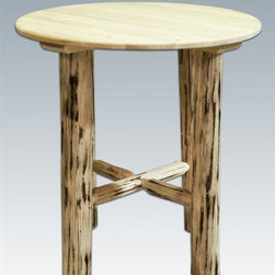 Montana Woodworks - 45 in. Round Bistro Table - Handcrafted. Heirloom quality. Skip peeled by hand using old fashioned draw knives. Edge glued panels. Made from solid U.S. grown wood. Made in USA. No assembly required. 45 in. Dia. x 40 in. H (115 lbs.). Warranty. Ready to Finish. Use and Care InstructionsRevel in the natural beauty of this classic style bistro table.