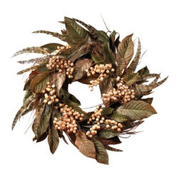 Nearly Natural - 24 Inch Feather and Berry Wreath - Show off your unique Autumn flair with this Berry and feather creation. An eclectic twist from a traditional style wreath, this circular masterpiece is sure to turn heads. Creamy Pastel berries surrounded by radiant striped feathers lend a fun whimsical touch to your home or office, and the crisp green foliage adds a spark of rustic appeal. Twenty-four inches in diameter, this stunning wreath makes a bold statement in any environment.