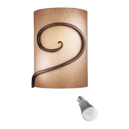 Minka Lighting - Single-Light Sconce with LED Bulb - 734-355/8W LED - This single-light sconce features Caspian glass and a golden bronze finish. It measures 11 inches tall by 8-1/2 inches wide and projects from the wall 6 inches. Includes one 9.5-watt LED bulb based on a breakthrough and patented technology to last 6 times longer than compact fluorescent bulbs and 35 times longer than an incandescent. Features a medium base with white diffuser and vented heat sink. Takes (1) 9.5-watt LED A19 bulb(s). Bulb(s) included. Dry location rated.