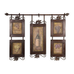 Hanging Wine Framed Art - *This Hanging Collage Features Oil Reproductions With A Hand Applied Brushstroke Finish. Frame Is Hand Forged Metal Finished In Brown With Black Distressing.