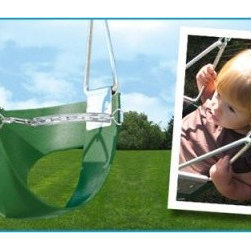 Belted Toddler Swing - Perfect for toddlers who have outgrown infant swings Creative Playthings' Belted Toddler Swing still offers security but with more freedom of movement. Made with heavy duty plastic and your choice of chain or rope attachments this bucket-style swing is perfect for tots learning to pump their legs and propel themselves. The chain belt helps your child maintain their balance as they get used to the increased mobility.About Creative PlaythingsSince 1951 Creative Playthings has been building wooden swing sets and swing set accessories at their plant in Emporia Virginia. Creative Playthings cares deeply about the lives of American children as well as the livelihood of their American workers and all of their play systems are proudly Made in the USA. Creating beautiful functional children's play sets are not the sole goal at Creative Playthings' headquarters. The mission of Creative Playthings is to introduce exercise build self-confidence and develop the imaginations of young children so that they can grow to be well-rounded teens and adults. And for them that mission starts in the backyard.