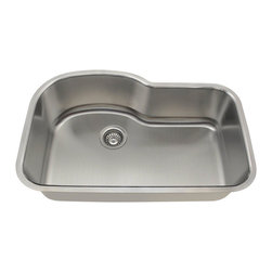 """MR Direct - MR Direct 346 Single Bowl Stainless Steel Sink, 16 Gauge, Sink Only - The offset 346 undermount sink has a single bowl made from 304 grade stainless steel and is available in your choice of 18 or 16 gauge thicknesses. The surface has a brushed satin finish to help mask small scratches that occur over time and keep your sink looking beautiful for years. The overall dimensions of the 346 are 31 3/8"""" x 20 1/2"""" x 9"""" and a 33"""" minimum cabinet size is required. This sink contains a 3 1/2"""" offset drain, is fully insulated and comes with sound dampening pads. As always, our stainless steel sinks are covered under a limited lifetime warranty for as long as you own the sink.In Accordance with Industry Codes and Standards for USA and Canada, all MR Direct Stainless Steel Kitchen Sinks are Certified and Listed by UPC, cUPC and IPC."""