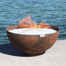 """Frontgate - Big Bowl o' Zen Sculptural Firebowl - Designed to be a focal point of meditative simplicity and beauty that complements, rather than competes with, your landscape. Arrives with a signed stainless steel plate that guarantees authenticity. Natural rust patina will continue to weather over time or you can paint your firebowl; view instructions. Can be left outdoors year-round. Maintenance free and crafted to last for generations. The simplicity of the Big Bowl o' Zen Sculptural Firebowl is what makes it so stunning. A balance of classic and modern design, this handcrafted, 37"""" wood-burning fire pit is a perfect hemisphere of heavy-duty steel on a nearly hidden base. Each one-of-a-kind bowl is made from 100% recycled, American-made steel that has been hand cut and redesigned by artist John T. Unger. .  .  .  . . Detachable base allows for easy surface leveling. Suitable for use with wood or charcoal . View safety instructions (PDF format). Made in the USA."""