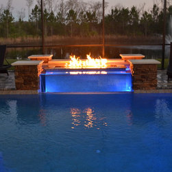 Fountain with Acrulic Glass Spill-over and Fire Feature -
