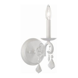 ArtCraft - ArtCraft-CL1571AW-Vintage - One Light Wall Bracket - Classics never go out of style by definition. The Vintage collection is no exception. An instant classic. Crystal jewels flow from the arms and frame making this a masterpiece. Shown in Antique White (available in Dark Brown finish as well).