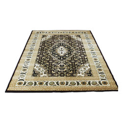 Rug - ~7 ft. x 10 ft. Traditional Modern Brown Living Room Area Rug, Machine Made - Large Living Room Area Rug