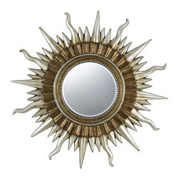 CAL Lighting - Cal Lighting WA-2166MIR Sunburst Round Polyurethane Beveled Mirror - CAL Lighting WA-2166MIR Sunburst round polyurethane beveled mirror